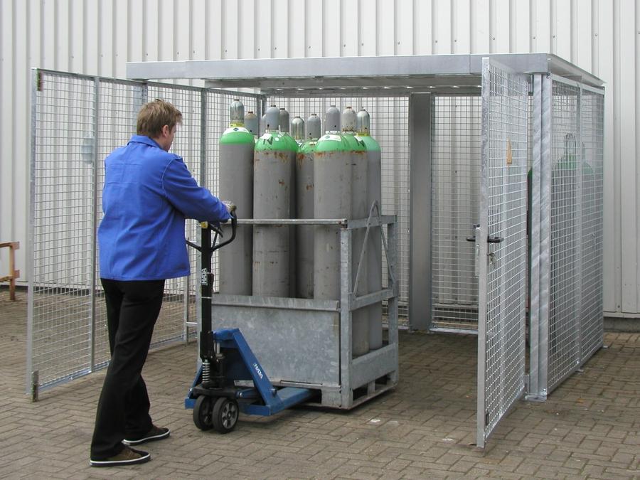 Gasflessencontainer met dubbele vleugel deur