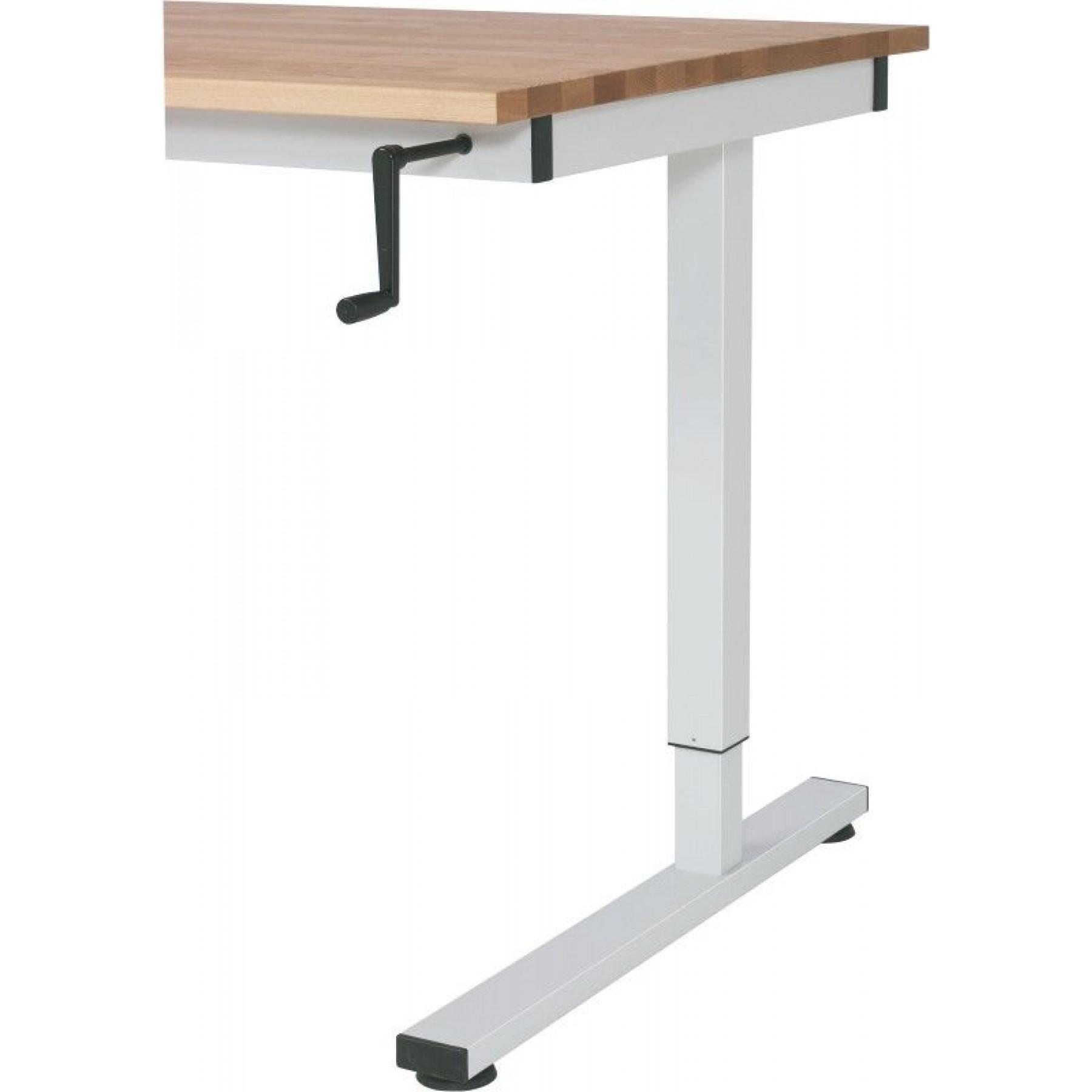 Werktafel, in hoogte verstelbaar d.m.v. handslinger