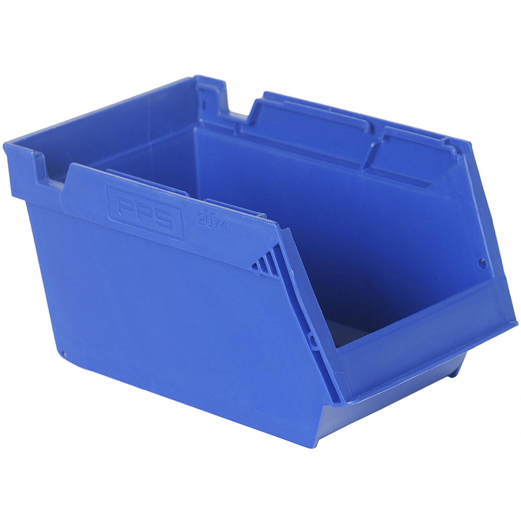 Nestbare- en stapelbare magazijnbak 250x148x130mm, kleur blauw