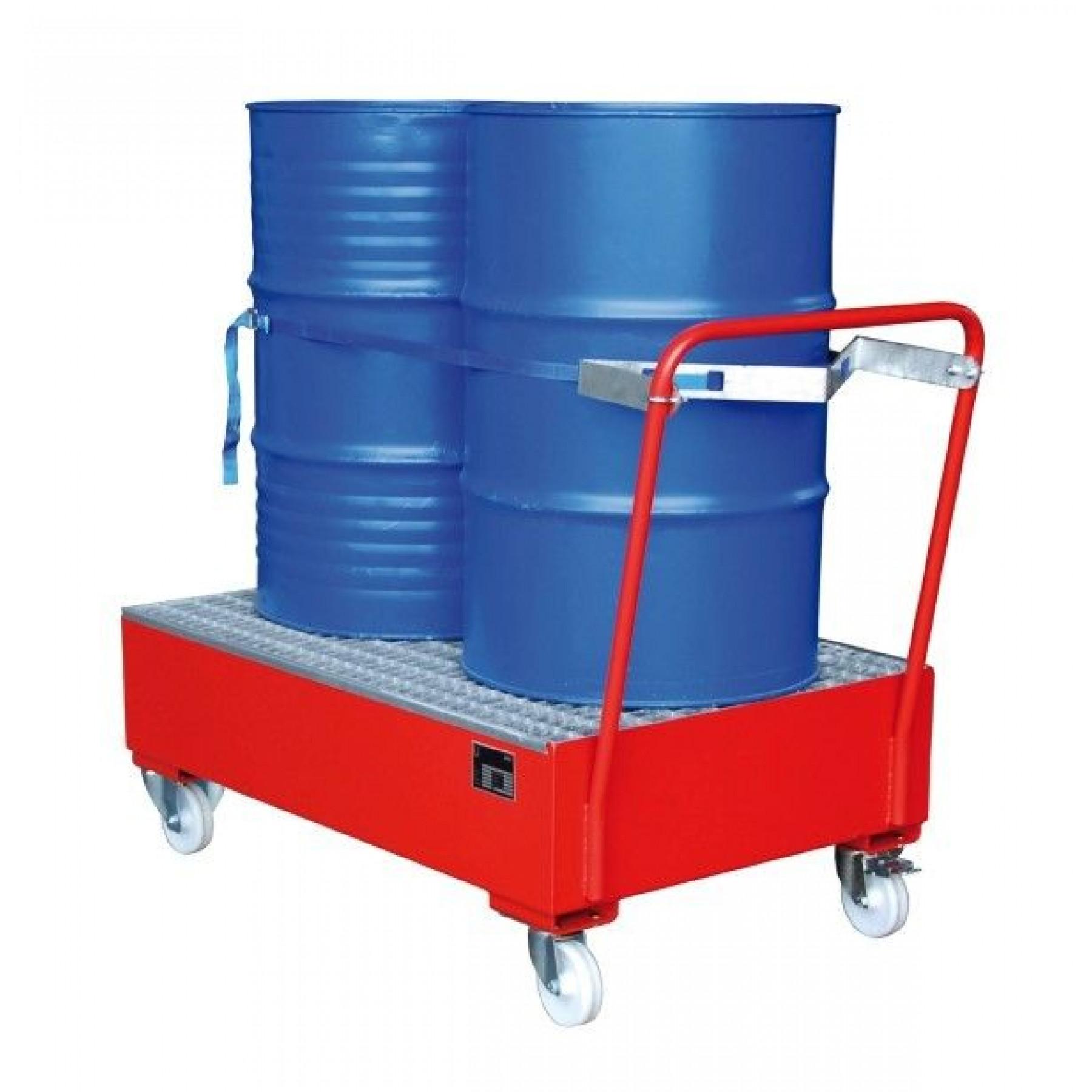 Verrijdbare vloeistofopvangbak voor 2 x 200 liter vat, verzinkt