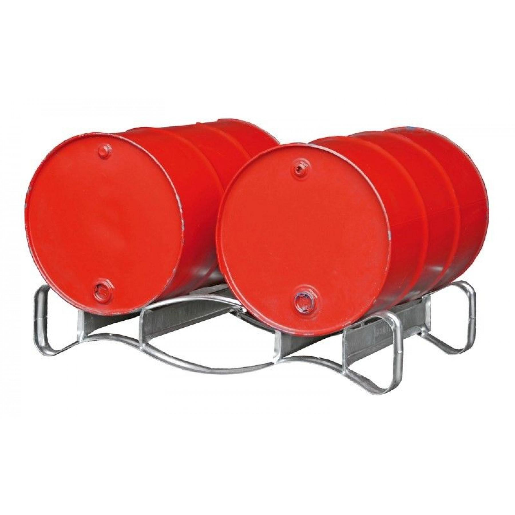 Vatenpallet voor liggende opslag van 200 liter vaten