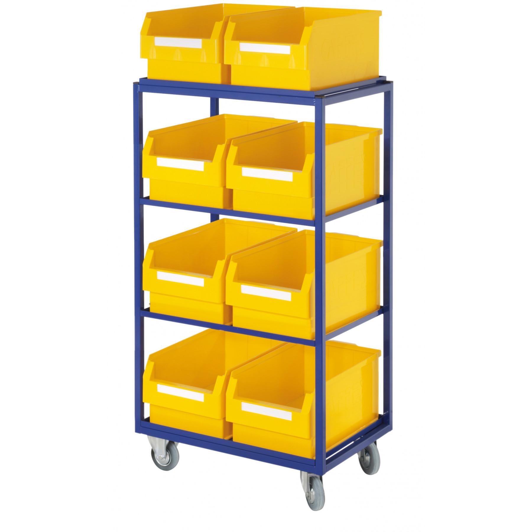 ®RasterPlan orderpickwagen met 4 rechte legborden en 8 magazijnbakken, 7706.01.0121
