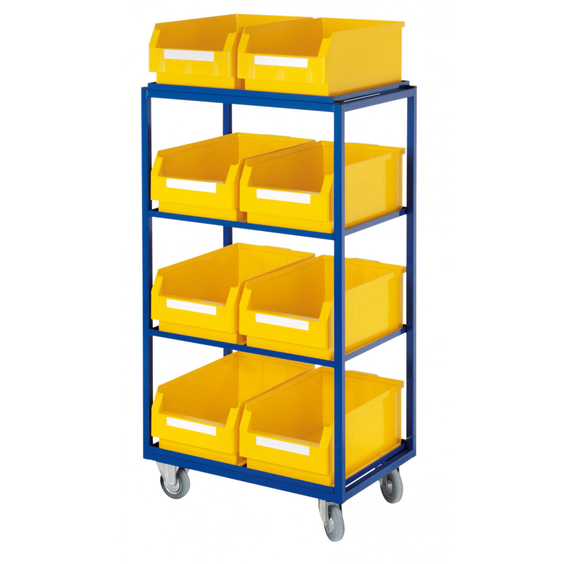 ®RasterPlan orderpickwagen met 4 rechte legborden en 8 magazijnbakken, 7706.02.0121
