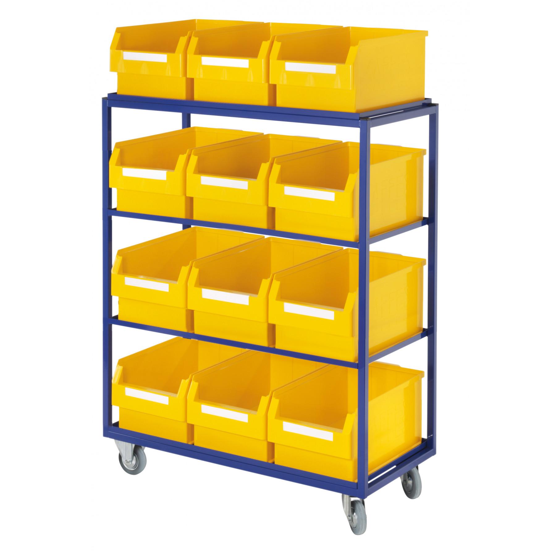 ®Rasterplan orderpickwagen met 4 rechte legborden en 12 magazijnbakken, 7707.01.0121