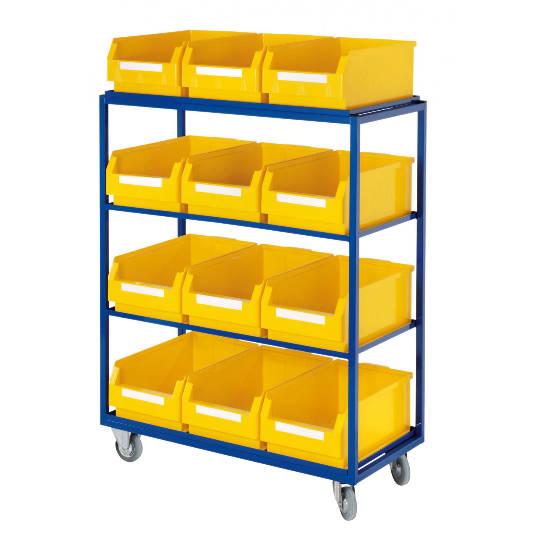 ®RasterPlan orderpickwagen met 4 rechte legborden en 12 magazijnbakken, 7707.02.0121
