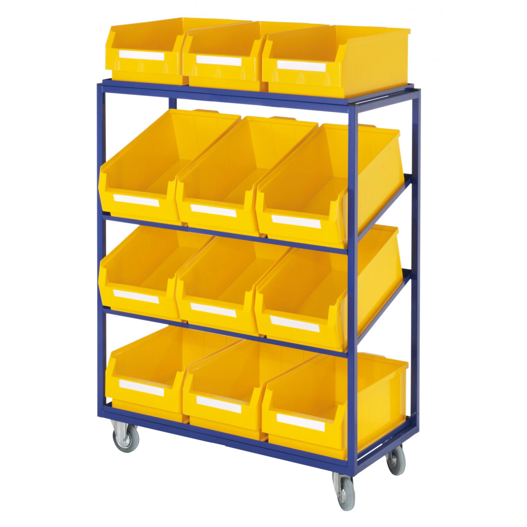 ®RasterPlan orderpickwagen of bijzetwagen met rechte en schuine legborden