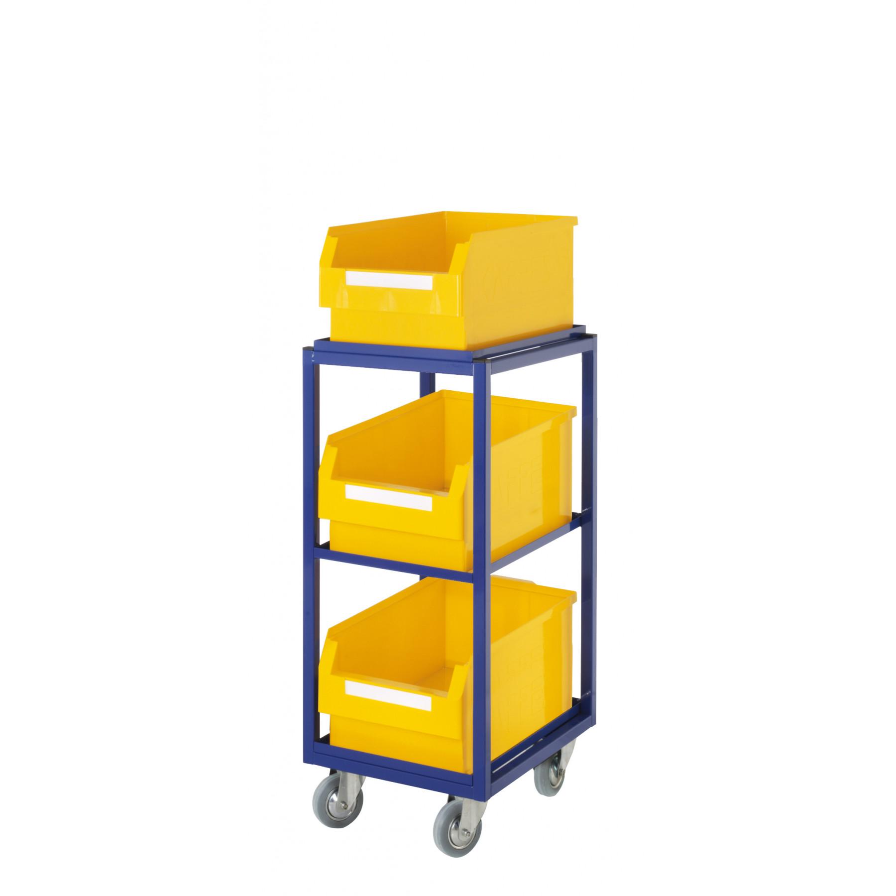 ®RasterPlan orderpickwagen met 3 rechte legborden en 3 magazijnbakken, 7708.01.0121