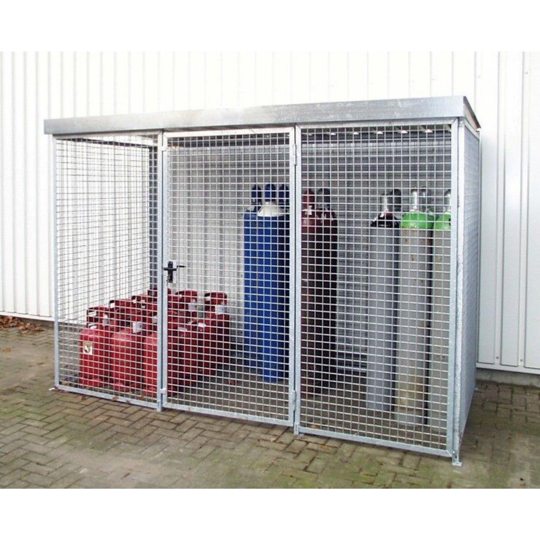 Gasflessencontainer met dak voor 48 gasflessen, GFC-M2-D