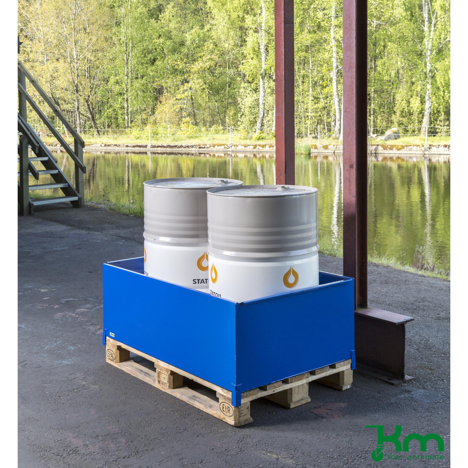 Vloeistof opvangbak voor 2 x 200 liter vaten