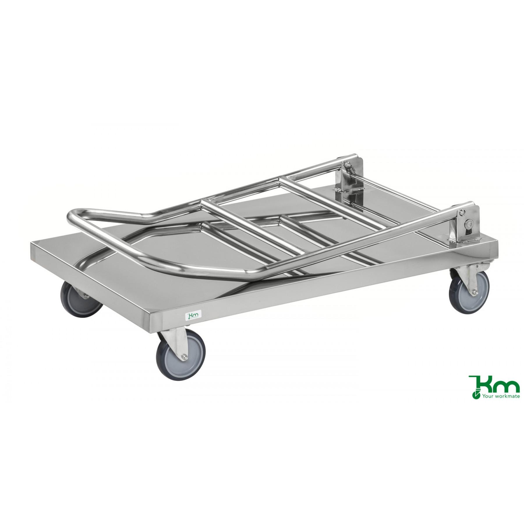 RVS duwwagen met neerklapbare duwbeugel, KM60360