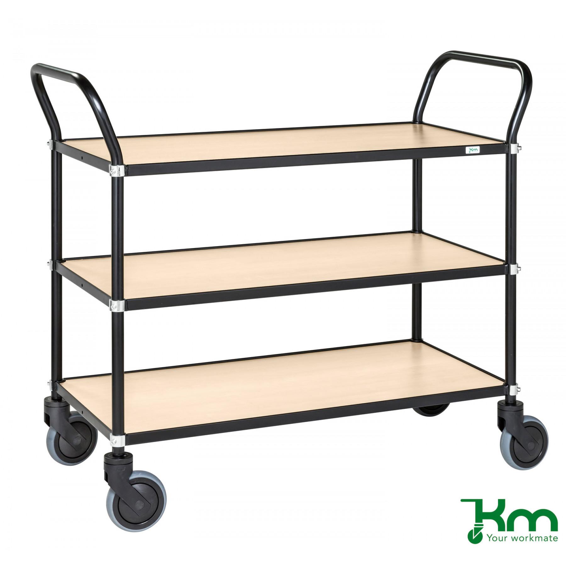 Design tafelwagen met berkenstructuur toplaag, KM 8113-BJ