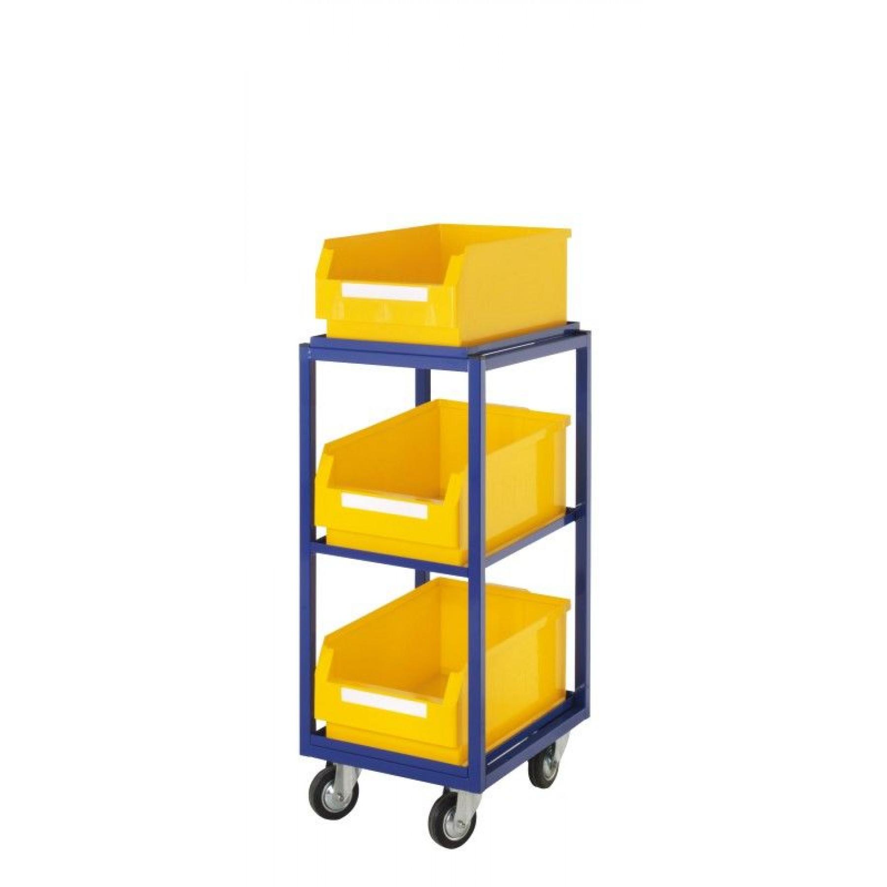 ®RasterPlan orderpickwagen met 3 rechte legborden en 3 magazijnbakken, 7708.02.0121