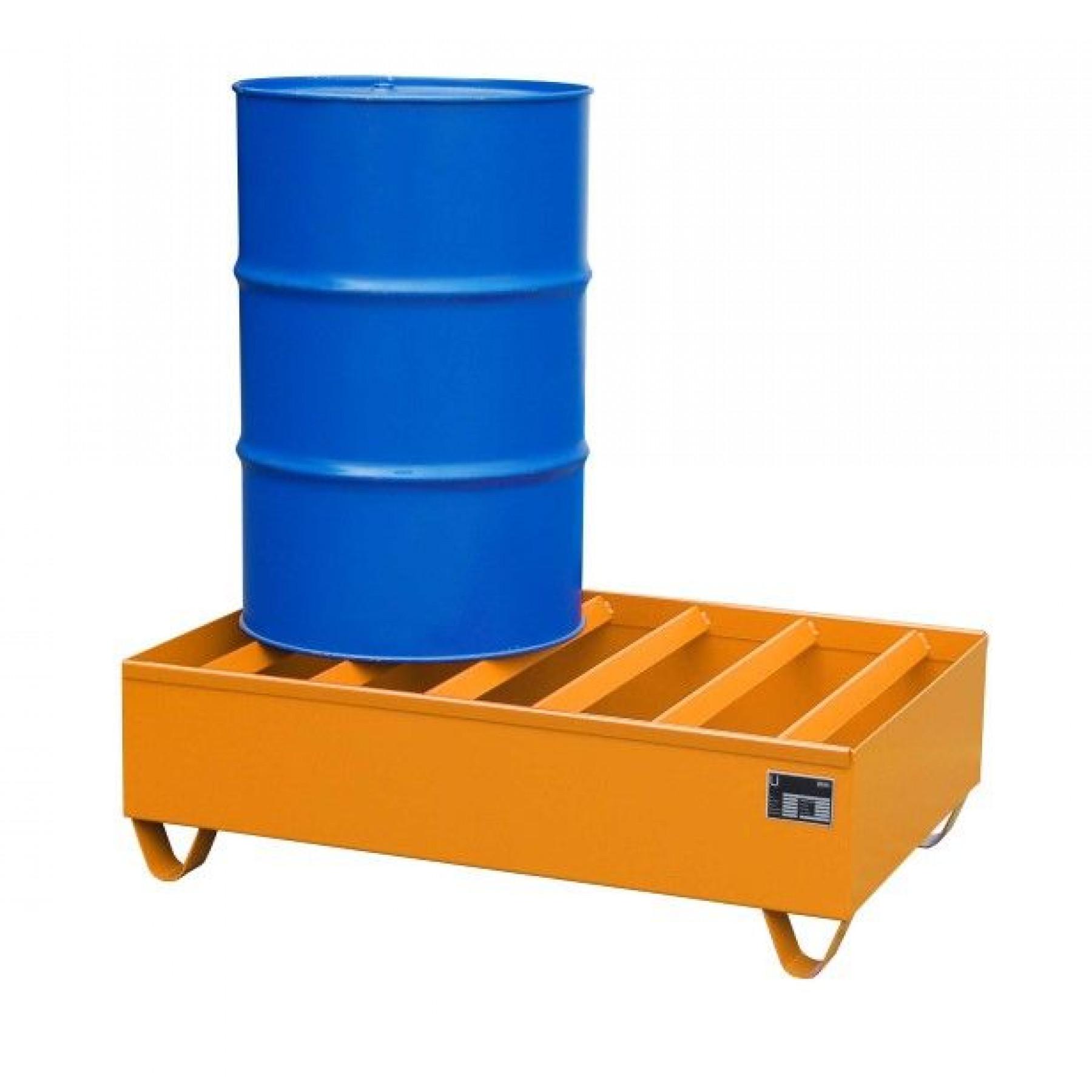 Profiel opvangbakken voor 2x 200 liter vaten, vervaardigd van 3mm staalplaat