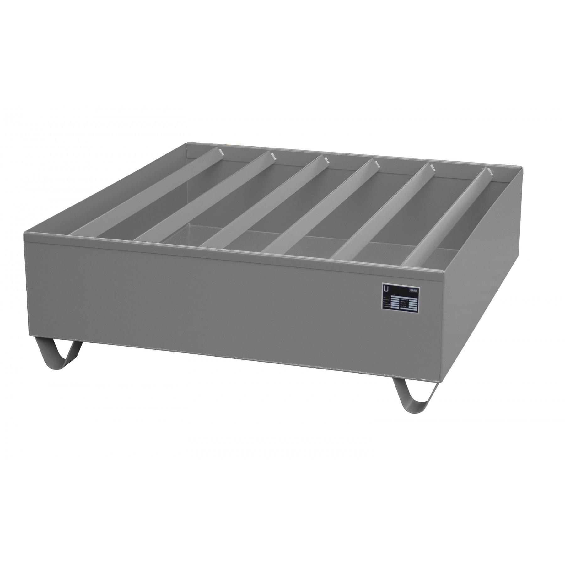 Profiel opvangbakken voor 4x 200 liter vaten, vervaardigd van 3mm staalplaat