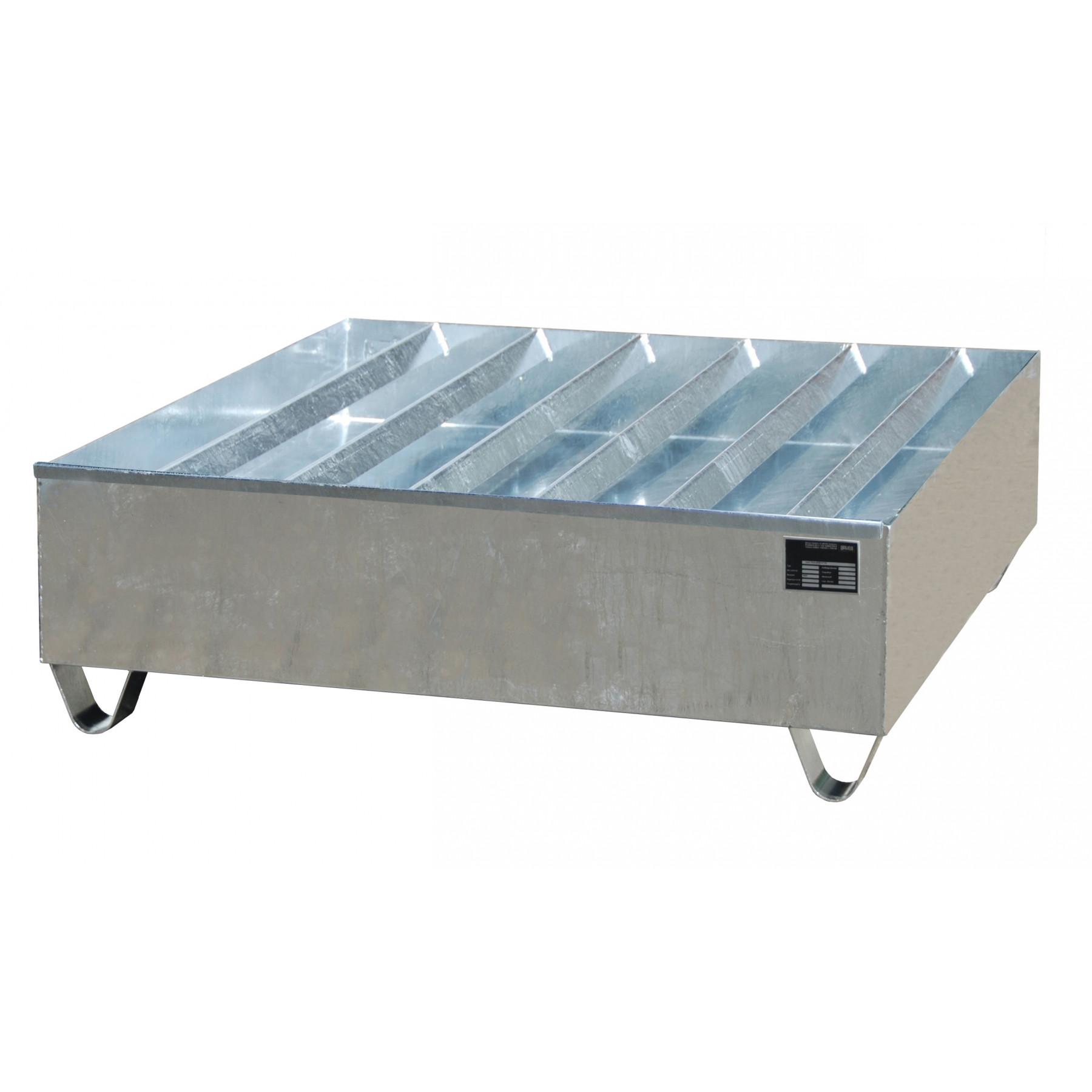 Profiel opvangbakken voor 4x 200 liter vaten, vervaardigd van 2mm staalplaat