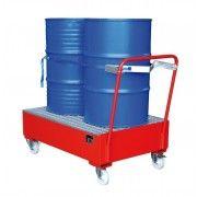 Verrijdbare vloeistofopvangbak voor 2 x 200 liter vat