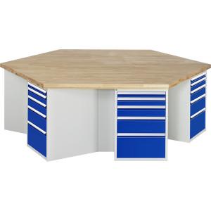 Groepswerkbank met massief beuken werkblad en ladenkast