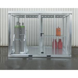 Gasflessencontainer met traanplaatbodem voor buitenopslag van gasflessen