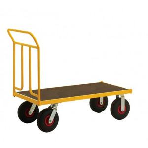 Duwwagen geel met MDF laadvloer, serie KM144